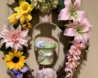 Easter Wreath - A basket full of Love, Hope and Believe