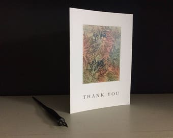 Maple tapestry thank you card, individually handmade, not a reproduction: A7, note cards, fine cards, SKU TYA7....