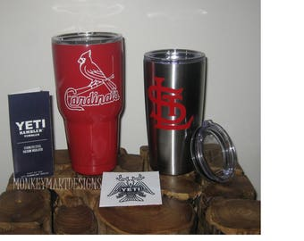 "YETI RAMBLER tumbler cup front and back custom made with ""CARDINALS"" logo,20oz Yeti or 30oz powder coated black,red, white-"