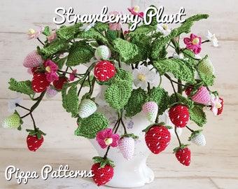 Crochet Strawberry Plant Flower Pattern Garden Home Decoration Floral Arrangement