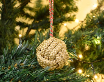 Christmas Baubles x 6 Gold Monkey Fist knots