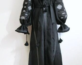 Vyshyvanka Dress Ukrainian Embroidery Black Linen Boho Dress Embroidered Dresses Kaftan Abaya Bohemian Clothes Ethnic Ukraine Bohochic Maxi