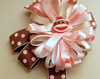 Hair Bow, Pink, white,gold, brown with pink dots,alligator clip,money