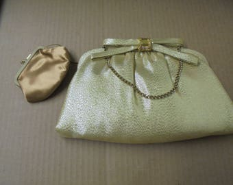 After Five Clutch with Coin Purse Gold Shimmery Look Very Good Condition