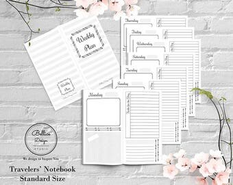Standard TN Inserts, Standard Travels Notebook Insert, Undated Weekly Planner, Day on 2 Pages, Printable Inserts, Planner Printable Inserts