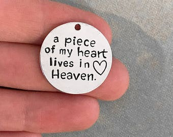 A Piece Of My Heart Lives In Heaven Memorial Charms Antique Silver Tone 25mm