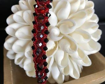 Red and Black Crystal Bracelet