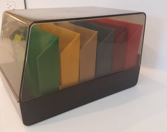 colorful Floppy Disk holder/ by SRW made USA/ model Mini dex 60 // industrial retro office storage