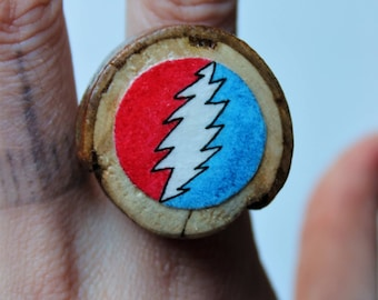 Grateful dead ring etsy red and blue grateful dead bolt wooden ring prinsesfo Gallery