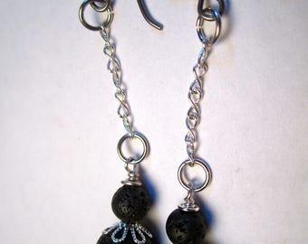Essential Oil Lava Bead Diffuser Earrings, Silver Chain Drop
