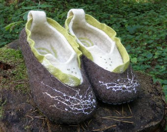 """Felted slippers, """"Forest"""",  eco slippers, woolen slippers, Women wool felt slippers, felt slippers, woolen slippers"""