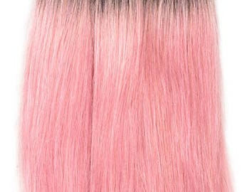 Pink hair extensions etsy ombre 1b light pink straight brazilian hair weave bundles 100 human hair bundles 8 pmusecretfo Images