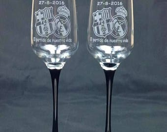2 cups cava black foot engraved as you wish