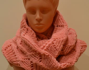 Hand knitted pink and white women scarf with gloves-Gift for her-Women gift-Birthday gift-Warm-Soft-Set-Knit accessories