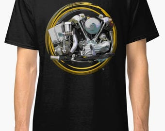 Harley Davidson Knucklehead engine Vintage Motorcycle T-Shirt INISHED Productions