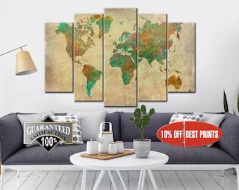 Large World Map, Wall Art, Canvas Print, World Map, Travel Canvas Print, World Map Wall Art, World Map Canvas, World Map Print, World Map