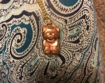 Copper Pig Pendant Necklace