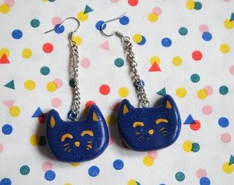 Big Blue Cat Earrings