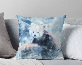 Red Panda Winter Art, 18x18 Throw Pillow with Animal, Little Panda, Animal Lover Gift, Animal Gifts For Her
