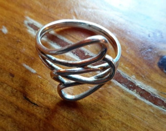 Large Vintage 925 Sterling Silver Modernist Ring