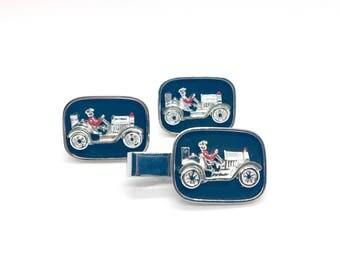 Swank Racecar Cufflinks and Tie Clip Set