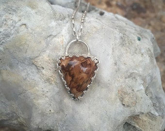 Biggs Jasper Pendant / Argentium silver pendant / Natural Gemstone / Gifts for her / One of a kind jewelry / Unique Jewelry /