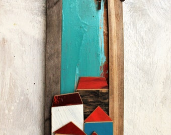 Montemagno wall sculpture of recycled wood and iron