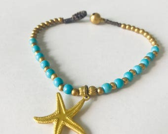 Vintage turquoise beaded with gold bass star charm bracelet