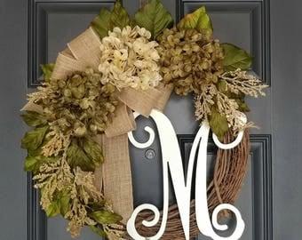 Everyday Wreath,Grapevine Wreath,Front Door Wreath,Spring Wreath,Monogram Wreath,Farmhouse Wreath,Wreath for Door,Burlap Wreath,Grapevine