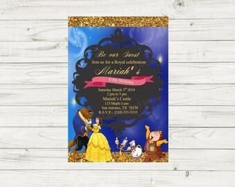 Beauty and The Beast Birthday Invitation