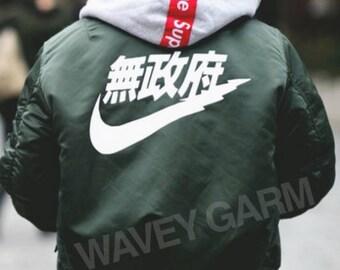 Air Tokyo Bomber Jacket Lightweight   Very Rare Japanese Chinese Nike Inspired Sad Boys Kanji KYC Vintage White Festival