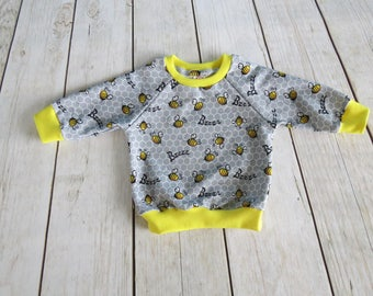 Handmade Casual Sweatshirt Blouse Hoodie Baby Kids Girls Boys Toddler Bee Design