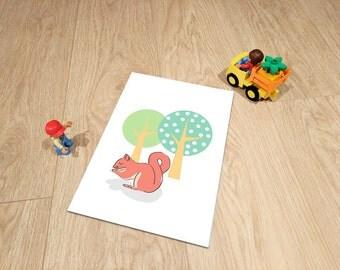 Red Squirrel - Woodland Creatures Range - Nursery Print - Shordy's - Children's Wall Art - Nursery Decor
