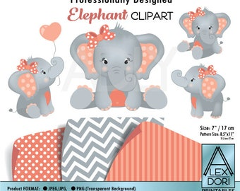 Girl Elephant Clipart, Coral gray Baby peanut clip art, png file. Nursery, Baby Shower decoration,birthday, instant download commercial use