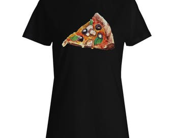 Pizza Tasty Delicious Olives Ladies T-shirt m863f