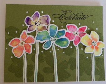Time to celebrate water-color flowers card