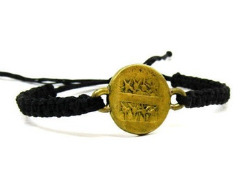Macrame bracelet- Friendship bracelet- Adjustable bracelet- Unisex bracelet- Dainty bracelet- Boho bracelet- Knotted bracelet- Coin jewelry