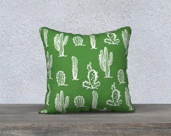 """Decorative pillow cover """"Cactus"""" fabric very soft - cover pillow-gift-baby room kids decorative cushion Green"""