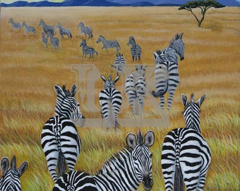 African zebras painting fine art giclee print