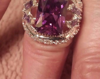 Amethyst & White Topaz Large Princess Cut Gemstone Sterling Silver Plated Ring Size 7