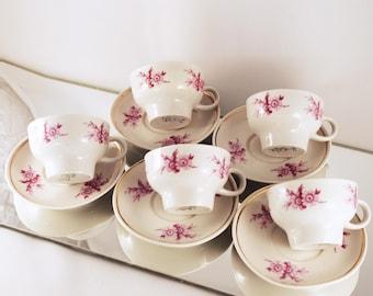 Porcelain Cups, Coffee Tea Cups, China Set of 5, Vintage Teacups, Tea Drinkware, Vintage Style, Floral Retro Cups, Old Tea Service 60's 70's