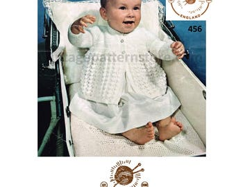 """Babies 1950s, round neck, raglan sleeve, cable matinee coat - 18"""" - 19"""" chest - Vintage PDF Knitting Pattern 456"""