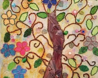 Flowers of Life mixed media art. Beaded art. Mosaic art.