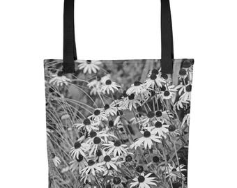 Black and White Tote Bag, Flowers, Beautiful Washable Fabric, Market, Shopping, Overnight, Beach, Floral, Casual Handbag Handmade, Nature