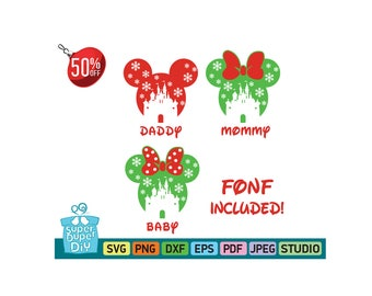 Mickey Mouse svg silhouette pack - Mickey and Minnie Mouse - Disney svg -Christmas svg -Mickey clipart digital download svg, png, dxf, eps