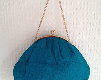 1960's Turquoise/Teal embroided fabric snap-fastening purse with gold chain