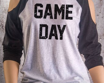 Buy 2, Get 1 FREE Tshirt Game Day Cold Shoulder Shirt in Heather White & Charcoal Triblend