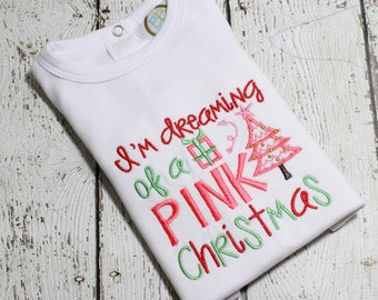 Christmas Outfit for Girls - Baby Girls Embroidered Christmas Bodysuit - Embroidered Christmas Shirt for Baby Girls - Little Girls Shirt