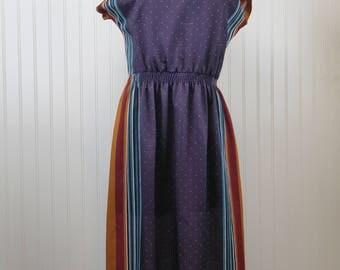 Vintage 70s Geometric Striped Boat Neck Dress Womens 6