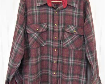 Vintage Plaid Flannel Shirt, Men's Size Large, Sears Roebuck Wool Blend Button Up Long Sleeve Shirt, Maroon/Gray